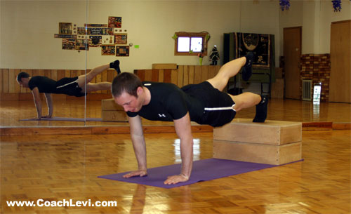 one leg decline push up