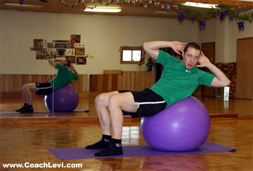 twisting ball crunch