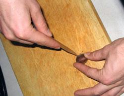 slicing chestnuts