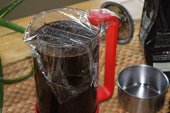 covered carafe of cold brew