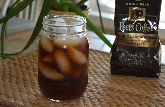homemade cold brew coffee in a mason jar