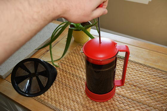 plunging the French press
