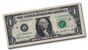 dollar bill for tire boot