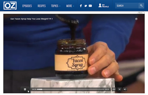 dr oz yacon syrup tv segment