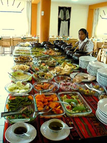 buffet table featuring nutritious food