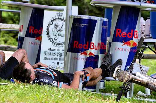 fatigued cyclists after epic race