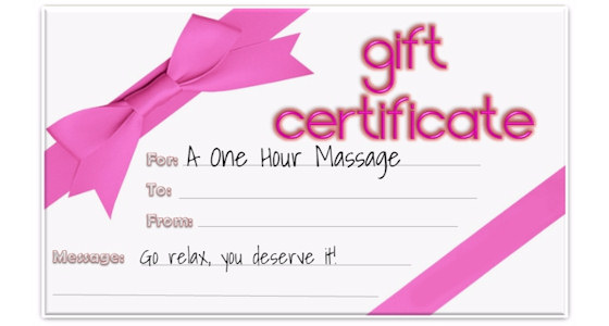 gift certificate for 60 minute massage