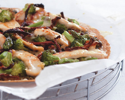 pesto chicken pizza from gourmet nutrition