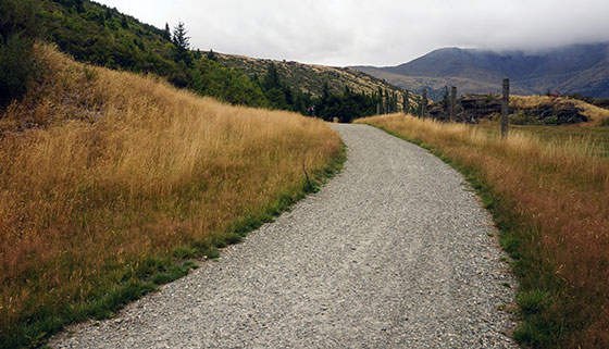 gravel bike path in the mountains