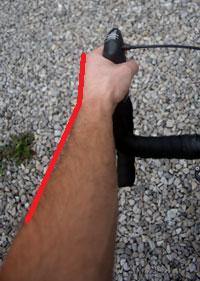 brake hood rotated inward