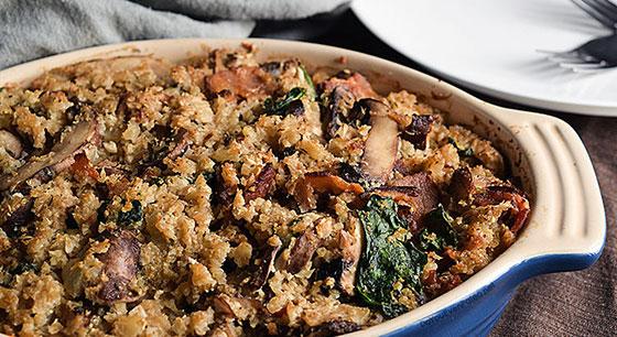 Mushroom Bacon Cauliflower Casserole
