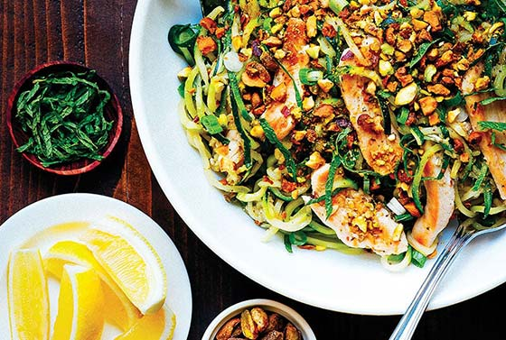 zucchini pasta dish with chicken and pistachios
