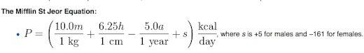 mifflin equation