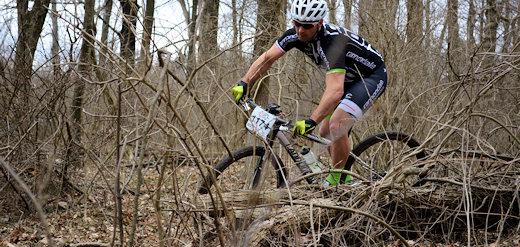 mountain biker in woods