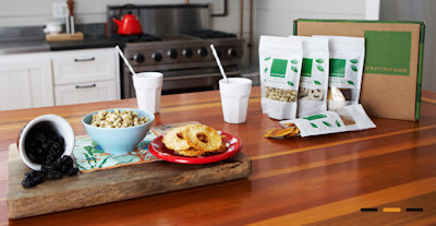 naturebox snacks on kitchen table