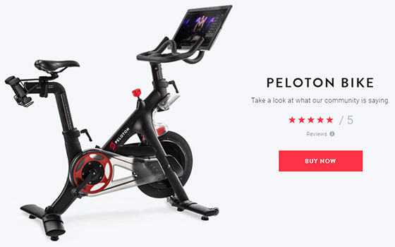 peloton bike website screenshot