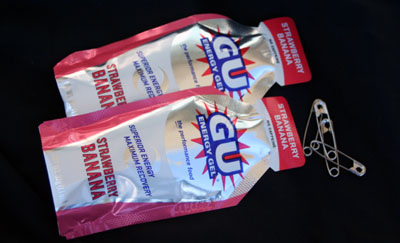 energy gels and safety pins