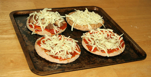 pita pizzas on tray