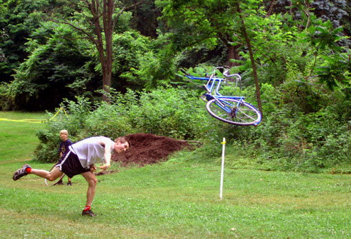 ray adams tossing a huffy