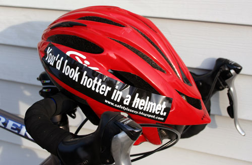 red helmet with safety is sexy sticker