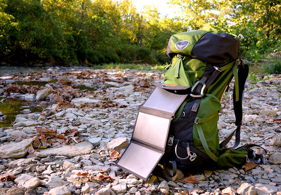 choe portable solar charger on backpack