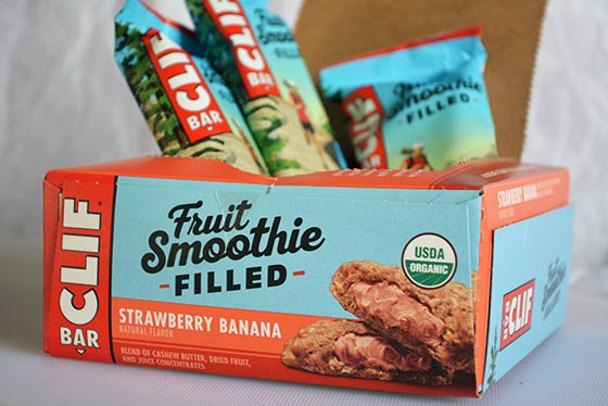 box of clif bar fruit smoothie filled bars