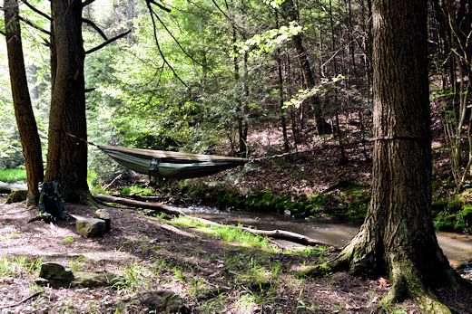 eno doublenest hammock set up beside creek