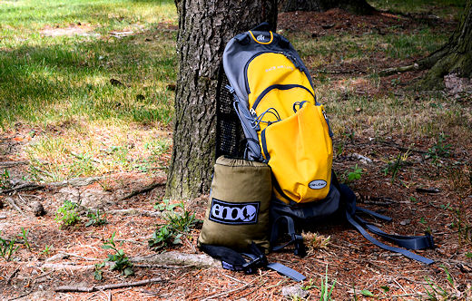 eno rolled up inside integrated carry bag