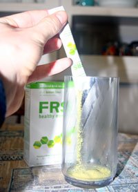 pouring frs energy powder