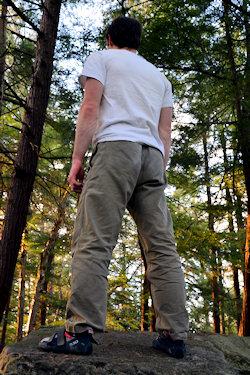 levi wearing gramicci climbing pants
