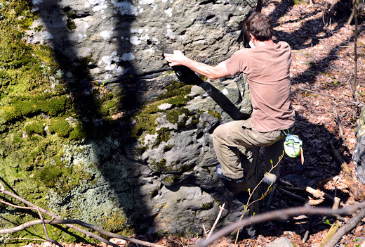 climbing in gramicci climbing pants