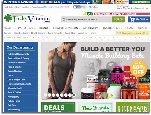luckyvitamin home page