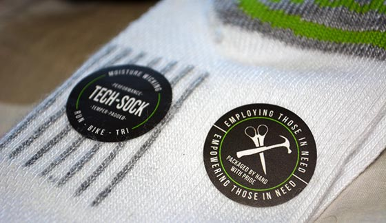 sticker on mitscoots running socks