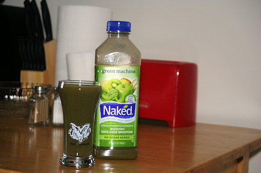 naked green machine in glass