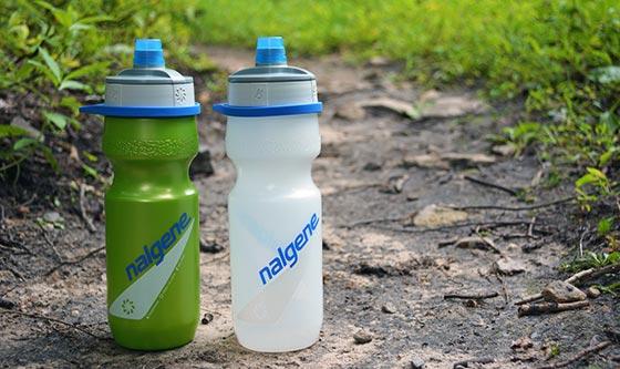 nalgene draft bottles on hiking trail