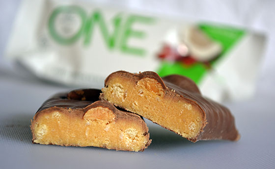 almond bliss one protein bar cut open
