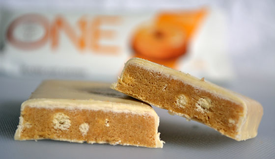 maple glazed doughnut one protein bar cut open