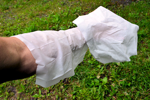 paper shower wet and dry wipes