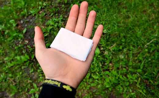 paper shower wet wipe