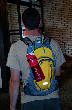 blenderbottle sportmixer on backpack