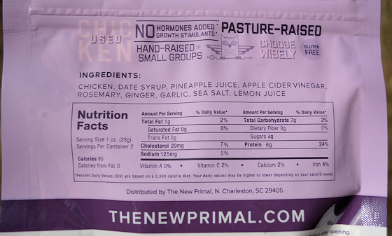 the new primal chicken jerky ingredients label