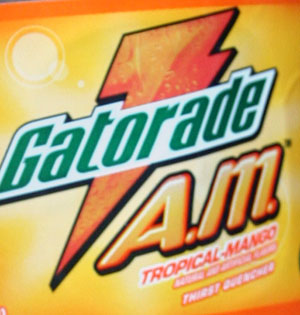 gatorade am tropical mango bottle