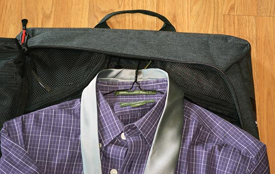 accessories in the garment bag corner pockets