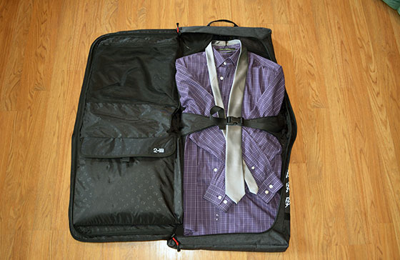 two wheel gear garment bag packed and open