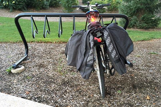 two wheel gear classic garment pannier taking up space at the bike rack