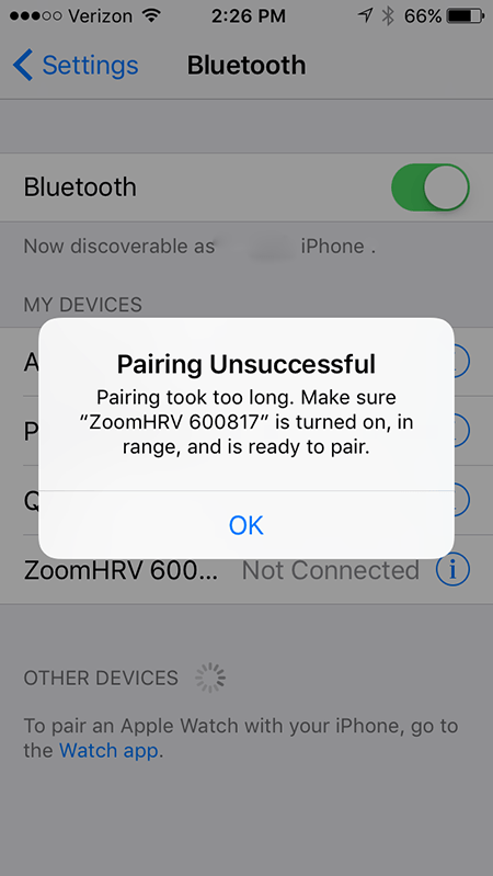 pairing the zoom to my iphone