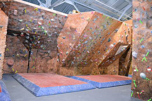 the climbing wall overhanging wall