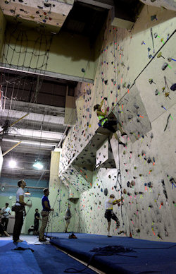 the climbing wall top roping area