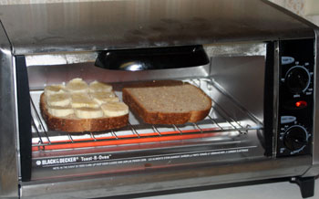toasting peanut butter banana sandwich