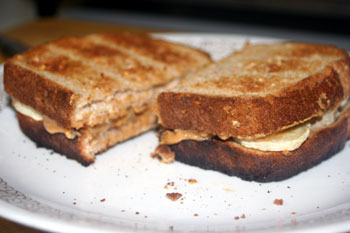 toasted peanut butter banana sandwich